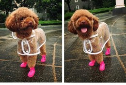 Wholesale Transparent Wedding Clothes - Waterproof Small Pet Dog Raincoats Waterproof Jacket Hooded Pet rain Coat Clothing Transparent Pet Dog Rainwear Size XS S M L XL