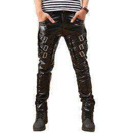 Wholesale 32 leather pants - Korean New Punk rock leather pants men Zippers Black Skinny slim Leather Pants Plus size 32 33 34 36 38 Cool trousers