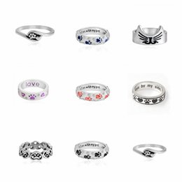 Wholesale Cat Love Couples - Love Ring Heart Stamped Hearts & Paws Rings Animal Cat Dog Ring Pet Lover Gift Valentine Day Couple Ring