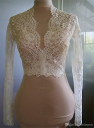 Wholesale Ivory Lace Applique Jacket - Cheap Bridal Wraps Modest Alencon Lace Crystals V Neck Sheath Wedding Bridal Bolero For Wedding Dresses Long Sleeve Lace Applique Jacket