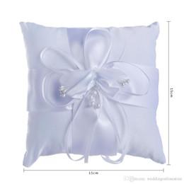 2019 cestas de flores para casamentos Marfim Branco Fita Pérola Suprimentos de Casamento Cerimônia de Cetim Anel Portador Travesseiro Festa de Casamento Travesseiros Anel 2017 Novo