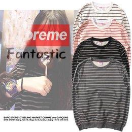 Wholesale Thin Cotton Shirts - Autumn Fashion Brand Sup Multi-color Striped Sweatshirt Thin Sweatshirts Striped Hoodie Shirt Women Long Sleeve Hoodies Top Tee