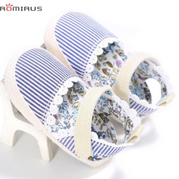 Wholesale Wholesale Shoes Modern - Wholesale- ROMIRUS Modern Baby Girl Shoes Crib Shoes Heart Stripe Print Baby Sneakers Anti-slip Soft Sole Toddler Feb20