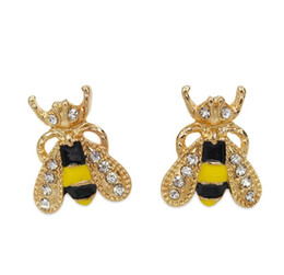 Wholesale Colored Earring Studs - Antique Crystal Insect Bee Stud Gold Plated Cute Colored Glaze Bee Rhinestone Earrings Stud for Women Girls Party Ear Jewelry Korean Style