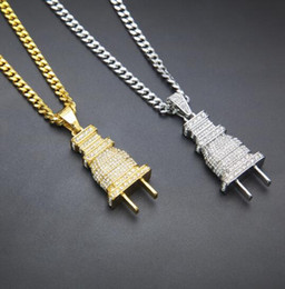 Wholesale Gold Chains Bling - promotion + 24K gold plated Iced Out Bling Men's Plug Pendant Necklace Plated Charm Micro Pave Full Rhinestone Cuban Chain Hip Hop Jewelry