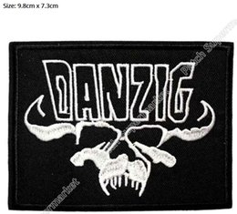 Wholesale Skull Appliques Free Shipping - DANZIG Skull Music Band Iron On Sew On Patch Tshirt TRANSFER MOTIF APPLIQUE Rock Punk Badge Wholesale Free shipping