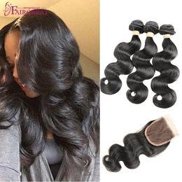 Wholesale Unprocessed Brazilian Hair 5pcs - Brazilian Body Wave With Closure 5PCS lot Brazilian Hair With Closure Unprocessed Virgin Hair With Closure Natural Color Cheap Human Hair