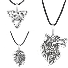 Wholesale Odin Pendant - Wholesale-Odin Raven Norse Wolf Pendant Viking Jewelry Fox Triquetra Fenrir Animal Teen Wolf Necklace Men Female Supernatural Amulet Knot