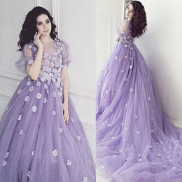 Wholesale Photography Training - Handmade Flower Illusion Lavender Evening Gowns Puffy Sleeves Long Train Arabic Evening Dresses Party Formal Gowns Photography Dress Prom