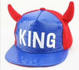 Wholesale Snapback Horns - Snapback Children cartoon horn baseball cap embroidery KING fight color hip - hop hat hats cap street dance hats