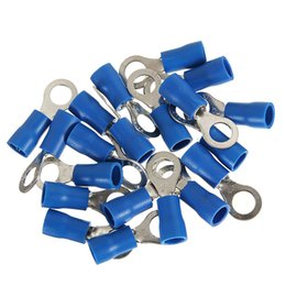 Wholesale Wire Crimp Ring - Blue Ring pre- insulated terminal RV2.5-6  RV2-4S RV2-5S  RV2-6 Cable Wire Connector for 1.5-2.5mm 16-14AWG Electrical Crimp Terminal