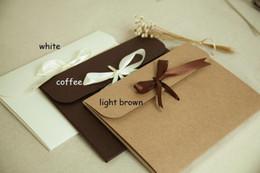 Wholesale Paper Craft Bags - 24*18*0.7cm Ribbon Kraft paper Envelope bag Handkerchief Silk scarf packing boxes Envelope gift box 200PCS