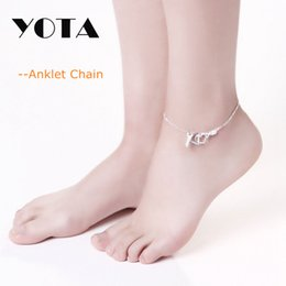 Wholesale Cheap Silver Hand Chain - YOTA Anklet Chain Foot Silver Plated Leaf Hand Bead Butterfly Design 20cm Link Chain 50 pieces Lot Cheap Boho Jewelry Ankle Bracelet