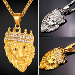 Wholesale Crown Rhinestone Pendant - U7 Rhinestone Crown Lion Head Pendant Necklace Stainless Steel Gold Plated Fashion Jewelry for Women Men Perfect African Accessories GP2391