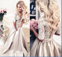 Wholesale Lace See Prom Dresses - Champagne Satin Evening Dresses Party Elegant for Women Wear See Through Lace Half Sleeve Court Train Sexy Formal Prom Gowns 2018