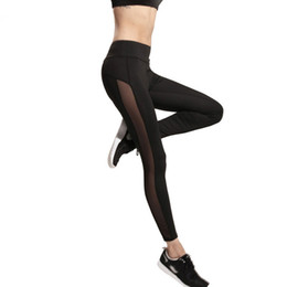 Wholesale Black Leggings Pockets - Harajuku 2017 Yoga leggings women mesh splice fitness slim black legging sportswear clothing new leggins hot bodybuilding