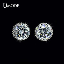 Wholesale 8mm Diamond Studs - UMODE Multi Prongs 8mm 2ct Top Quality CZ simulated Diamond Stud Earring UE0013