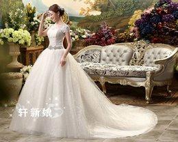 Wholesale Wedding Dresses Large Trains - MD29 Fashionable large train 2017 crystals wedding dress plus size custom made bridal dresses ball gown bride gowns vestido de noiva