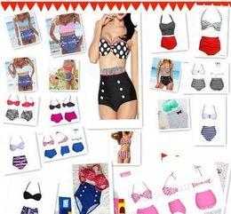 Wholesale swimwear tankinis - High Quality 19 Design Fashion Cutest Retro Swimsuit Swimwear Vintage Pin Up High Waist Bikini Set HH 500Set