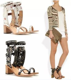 Wholesale gold shoes mid heel - 2017 Charlotte Elvis Studded Women Sandals Reviets High-Heels Mid-Heel Flat-Heel Genuine Leather Ankle Strap Boots Gladiator Vintage Shoes