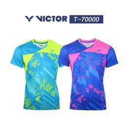 Wholesale Korea Shorts - VICTOR New 2017 men badminton shirts shorts,polyester breather women South Korea short sleeve uniform table tennis sportwear jersey M-4XL