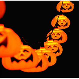 Wholesale Party Lantern String Lights - New Halloween 5M 20 LED Pumpkin LED String Light AC110 220V Orange Pumpkin Lights Halloween Christmas Holiday Decoration Lanterns Light