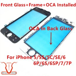 Wholesale Iphone 5c Glass Lens - Front Touch Screen Panel Outer Glass Lens + Cold Press Middle Frame Bezel + OCA installed for iPhone 5 5s 5c 6 6s 7 plus