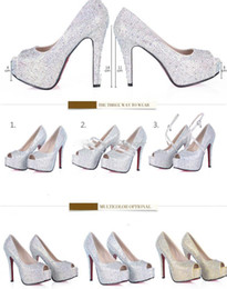 Wholesale Hot Pink Bridesmaid Shoes - Hot Sales Rhinestone Crystal Fish Mouth Bridal Bridesmaid Luxury High Heels Party Prom Shoes 2017 Wedding Women's Dress Shoes DL1311222