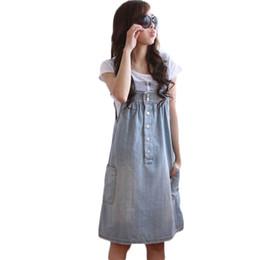 Wholesale Clubbing Girl Korean - Wholesale- Denim Dress For Students Cute Girls Suspender Dresses Large Size Dress 2015 Summer Korean Style Casual Dress Roupa Femme C62