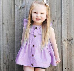Wholesale Boat Neck Cardigan - 2017 Baby Girls Dresses Solid Lotus Collar Cardigan Cotton Purple Beautifully Princess Kids Dress Baby Girl Clothes Children Clothing