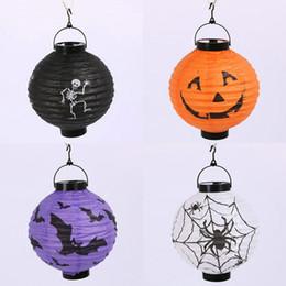 Wholesale Suspension Paper - Halloween Props with Halloween Decoration Products Jack Pumpkin Light Portable Suspension Pumpkin Paper Lantern 4 Color Lantern