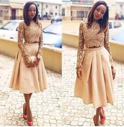 Wholesale Green Tea Bones - 2 Piece Long Sleeve Prom Dresses for Black Girls 2017 Short Satin Sexy Tea Length Lace Cocktail Back to School Cheap Homecoming Gowns