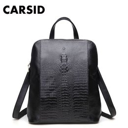 Wholesale Womens Back Packs - Wholesale- Women Genuine Leather Backpack For Girls College Female Fashion Backpacks 3D Crocodile Woman Back Pack Daily Backpack Womens