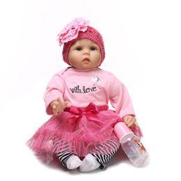 Wholesale Reborn Doll Hair - Silicone Reborn Baby Educational Princess Baby Doll 22 Inch Cloth Body Lifelike Vinyl Babyborn Dolls Long Hair Wigs
