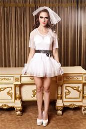 Wholesale Sexy Wedding Uniform - hot sale sexy wedding dress uniform Snow White Uniform Temptation Babydolls nightclub