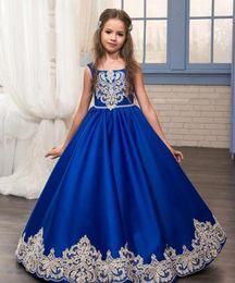 Wholesale Evening Gown Dresses For Kids - 2017 Long Royal Blue Lace Vintage Wedding Flower Girl Dresses with Bow Sash Elegant Kids Communion Evening Gowns for Children Little Girls