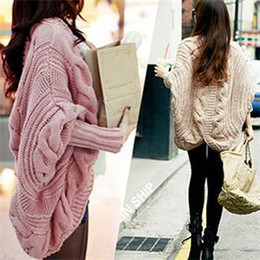 Wholesale Knitted Batwing Cardigan - Wholesale-Winter Spring Coarse Wool Cardigan Women Brand Fashion Full Batwing Sleeve Sweaters Casual Women's Clothing 8 Colors