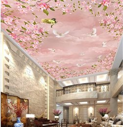 wallpapers cherry blossom Promo Codes - 3d ceiling murals wallpaper customize photo 3d ceiling Cherry blossoms sky clouds pigeons Non-woven wallpaper for ceilings