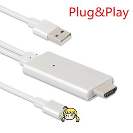 Wholesale Wholesale Hdmi Plugs - DHL PLUG&PLAY 2M HDMI Cable For iPhone 5S SE 6 6S Plus 7 ipad Support 1080P connection TV HDTV with retail package