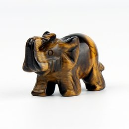 Wholesale Elephant Tiger - 1.5inch Yellow Tiger eye Elephant stone carved Crafts Chakra Figurine Home Décor healing reiki free pouch