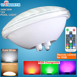 Wholesale Waterproof Par56 Led Light - 12v par56 LED swimming pool light 24w 36w AC DC underwater lights fountain pond outdoor waterproof white warm white rgb lighting