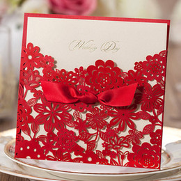 Wholesale Small Invitations Card - Wholesale-100 Pieces, Elegant Red Small Flowers Silk Tie Wedding Invitations Cards, By Wishmade, CW5086