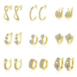 Wholesale Earring Gold Mix - 30pairs lot 30 models mixed order 18K yellow gold plated small hoop earrings cubic zirconia trendy huggie for women #er185