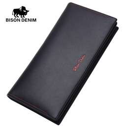 Wholesale First Coins - Wholesale- BISON DENIM men wallet leather genuine guarantee Wallet classic business wallet for gift First Layer Cowhide coin Clutch N4384