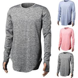 Wholesale T Shirt Design Hands - 2017 extend hip hop street T-shirt fashion t shirts men summer long sleeve oversize design hold hand