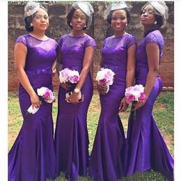 Wholesale African Red Coral Beads - 2018 African Mermaid Bridesmaid Dress Long Cap Sleeve Purple Wedding Party Dress Satin Bridesmaid Dresses with Beaded Bow