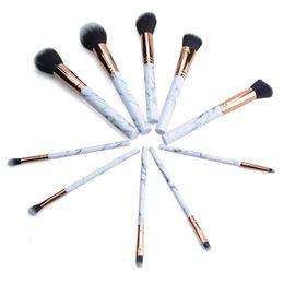 Wholesale Hair Functions - Marble Makeup Brush 10pcs set Marbling Pro Eye shadow brushes Marble Brush Multi function BB Cream Brusher Eyeline Cosmetic tool drop ship