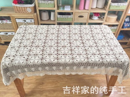 Wholesale Cotton Square Crochet Tablecloth - Handmade crocheted Tablecloth for table Cover Crochet Doilies Mat Pads Vintage Coaster Table cloth for Wedding supplies