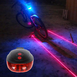Wholesale Night Light Bicycle - Night Warning Lamps Bicycle LED Light 2 Lasers Night Mountain Bike Tail Light Taillight MTB Safety Warning Bicycle Rear Lamp Bycicle Light