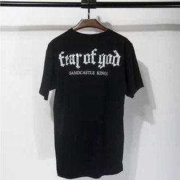 Wholesale Sand Animals - 2018 New Fear Of God T Shirt Justin Bieber Fashion Harajuku Cotton FOG Short Sleeved Sand Color Fear Of God T Shirts